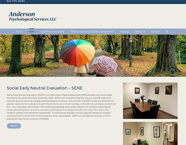 anderson psychological services wordpress website design