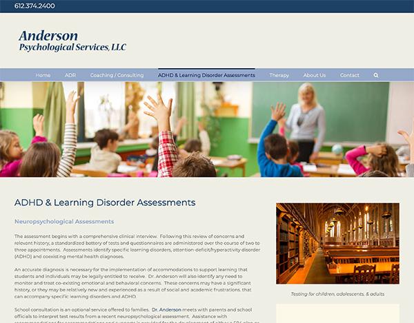 anderson psychological services seo website design st. paul