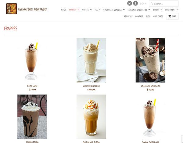 enlightened beverages responsive shopify ecommerce website design