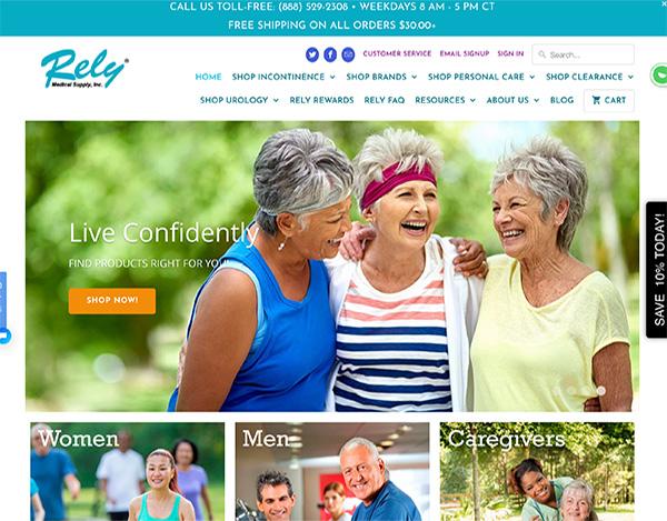 rely medical shopify ecommerce website design