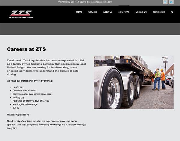 zts trucking wordpress website design